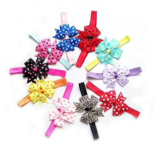 Skudgear Kids Chiffon Bowknot Multicolour Headbands(Pack of 10)