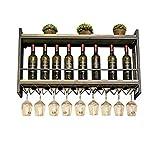 JXXDQ Weinregal an der Wand befestigter Schmiedeeisen-Speicher-Wein-Präsentationsständer-Weinglas-Halter-Becher-Rack (größe : L100*D20*H55cm)