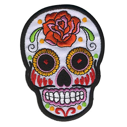 Freak Scene Aufnäher - Totenkopf Mexico mit Rose - weiß-orange - Patch