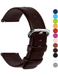 12 Colores para Correa de Reloj,Fullmosa®Uli Piel Correa Huawei Samsung Correa/Banda/Band/Pulsera/Strap de Recambio/Reemplazo 18mm 20mm 22mm 24mm,Marron Oscuro 22mm