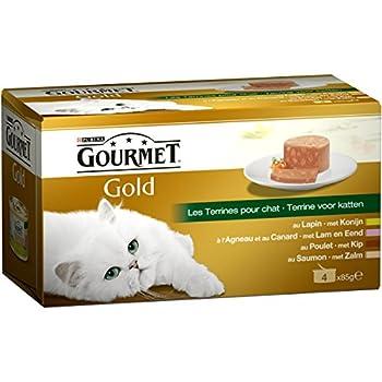 Gourmet Gold Les Terrines Multivariétés - 4 x 85 g - Boîtes pour Chat Adulte - Lot de 24