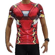 BORN2RIDETM Superhero Fancy Dress/Ginnastica/Ciclismo a Compressione a Maniche Corte, da Uomo