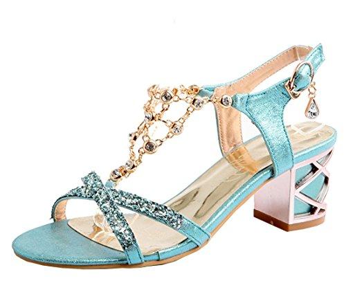 YE Damen Chunky Heels T Spangen Sandalen mit Blockabsatz und Riemchen Bequem 5CM Absatz Glitzer Pumps Sommer Schuhe Blau