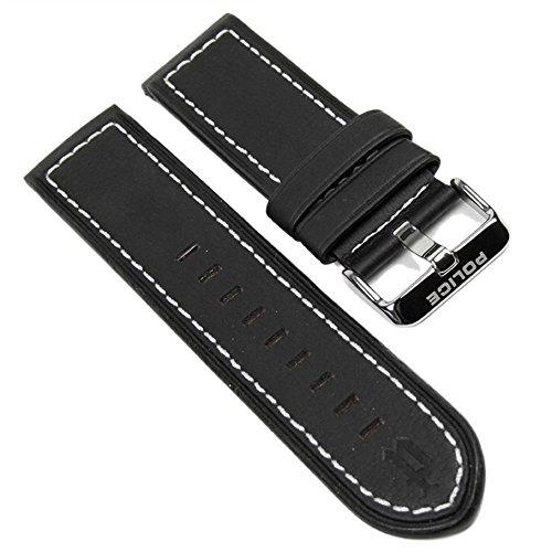 Police Ersatzband Uhrenarmband Leder Band schwarz/Weiss für Lancer Herrenuhr P12591JSUB-02