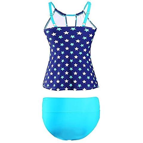 PU&PU Women's Plus Size Tankini étoiles forme deux pièces Set maillot de bain sans fil Soutien-gorge rembourré polyester , blue , m