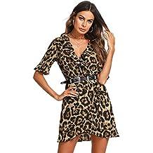 a8436a523 SOLY HUX Mujer Vestidos Sexy Leopardo Mini Corto de Manga Corta con V  Cuello para Fiesta