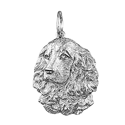 Sterling Silver Cocker Spaniel Pendant or Charm, Beautiful Handmade, Our own Unique design, Free