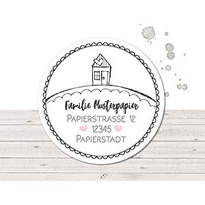 Adressaufkleber • Doodle Haus • 24/120/240 Stück (A80) Sticker - kunterbunte Aufkleber vom Papierbuedchen