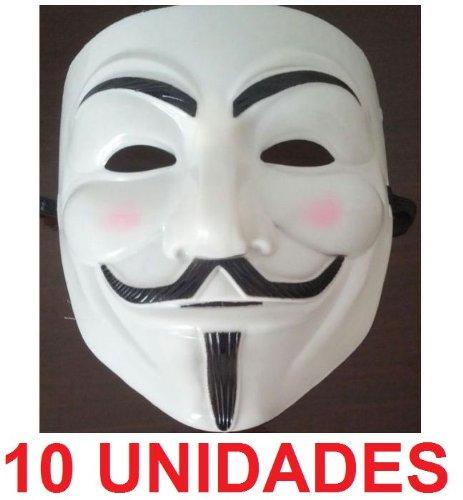 10 x MASCARAS V DE VENDETTA / CARETA VENDETA (10 UNIDADES) INDIGNADOS 15-M (BLANCA)