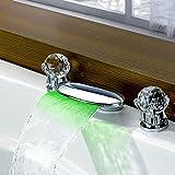 WYQLZ Robinet de couleur de contrôle de température de LED Mélangeur de bassin de cascade de mode Chrome-plaqué
