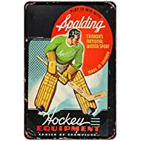 qidushop 1940 Spalding Hockey Equipment Vintage Reproducción Metal Sign para el hogar Pared Art Post Placa para Mujeres Hombres 20 x 30 cm