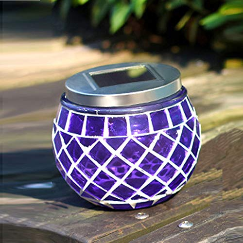 MMLC Solar Mosaic Landscape Path Lights, LED Night Lights Waterproof Outdoor Lamp Table Lights for Home Yard Patio Christmas Party Decorations,Perfect Gifts for Family (Purple)