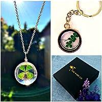 Glücksklee Anhänger Halskette und Schlüsselring Geschenkset - Sterling Silber Kette vierblättriges Kleeblatt passendes Schmuckset für Mädchen