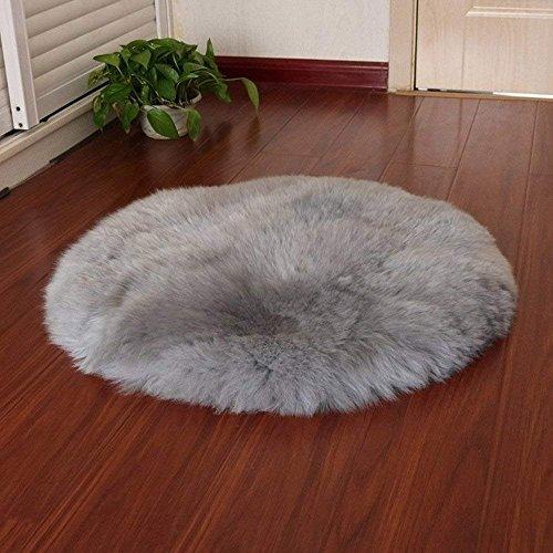 QINGLOU Faux Lammfell Schaffell Teppich (45 x 45 cm) Wohnzimmer Schlafzimmer Kinderzimmer/Als Faux Bett-Vorleger oder Matte für Stuhl Sofa (Grau(Runde), 45 x 45cm)