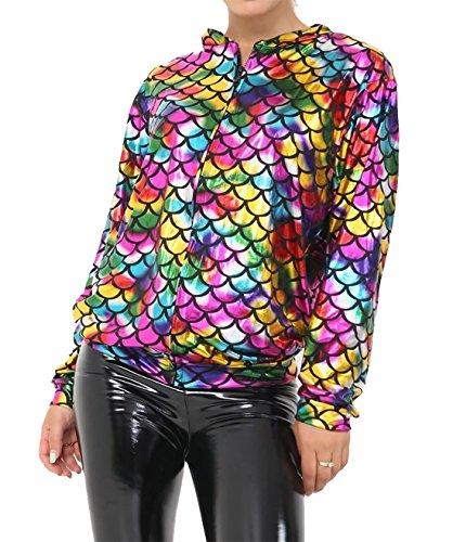 Islander Fashions Damen Meerjungfrau Rainbow Fish Bomber Jacke Damen Metallic Sommer Party Mantel Small/Medium
