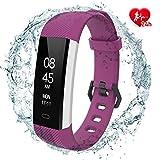 fitpolo SmartwatchDamen Fitness socken mit Pulsmesser Wasserdicht IP67, Aktivitätstracker Fitness Uhr Smartwatch, Pulsuhren, Schrittzähler Uhr, für Damen Herren (Lila)
