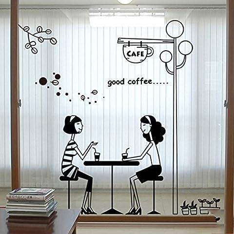 tea shop vitrophanies pour les filles/cafe,autocollants pour fenêtres décoratives coffee shop/vitrophanie/verre/déco murale-E