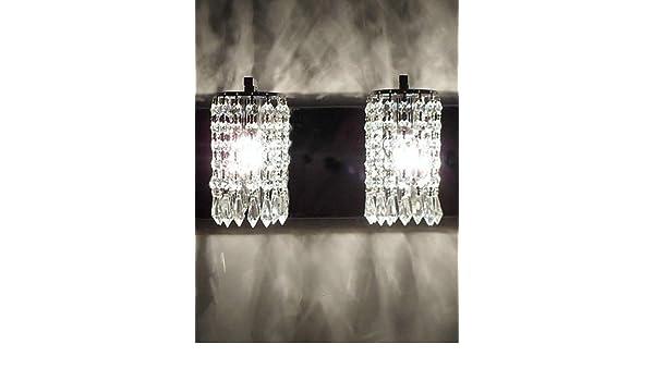 W applique da parete moderna con pendenti in cristallo e luci