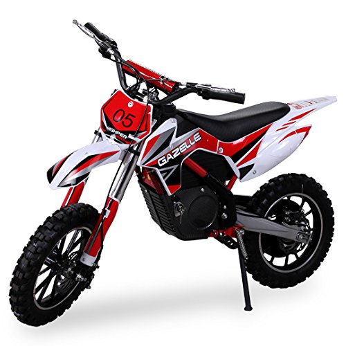 Kinder Mini Crossbike Gazelle ELEKTRO 500 WATT inklusive verstärkter Gabel Dirt Bike Dirtbike Pocket Cross (Rot) (H Mini 250 Quad)