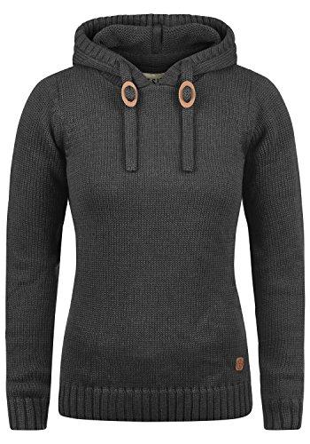 DESIRES Pita Damen Winter Strickpullover Troyer Grobstrick Pullover mit Kapuze, Größe:S, Farbe:Dark Grey Melange (8288)