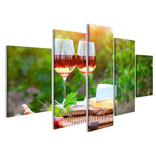 islandburner Bild Bilder auf Leinwand Zwei Gläser Rosewein mit Brot, Fleisch, Traube und Käse auf...