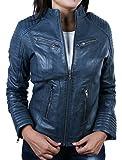 Coole Kurze Biker Damen Lederjacke LB01, Blau, Große : 5XL