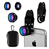 ELZO Lenti per Cellulare, 3 in 1 Lenti Smartphone Clip-On Fisheye Suprema 198° + Lente Grandangolo 0,65X + Lente Macro 15X per iPhone X / 8/8 Plus / 7/7 Plus, Samsung Galaxy Note 8 S7 Edge ECC