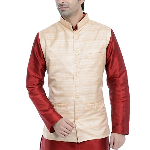 JBN Creation Beige Matka Silk Modi/Nehru Jacket (Size: 38)
