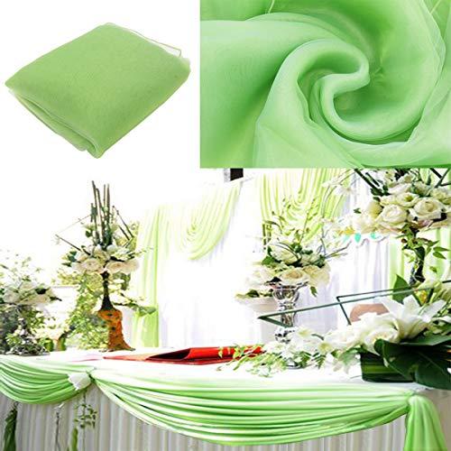 Bitfly 5m x 1.35m organza swag fai da te in tessuto festa natalizia superiore tavolo da party festa decorazione arco scala di valance tabella gonna - 30 colore scegli verde chiaro
