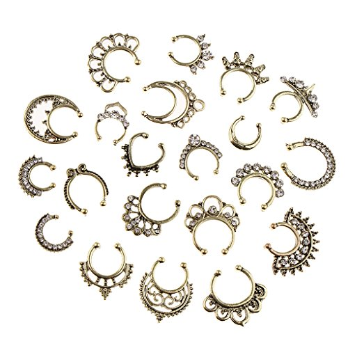 non-brand 21pcs Crystal Nasenpiercing Fake Septum Clip On Hänger Nasenring Schmuck - Antike Bronze