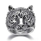 AZUO Retro Persönlichkeit Zeigefinger Tigerkopf Ring Herrschsüchtig Männer Edelstahl Ring,Silver,L