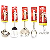 A Plus 5 Piece Stainless Steel Kitchen Tool Set - (Ladle, Skimmer, Turner, Basting & Masher)