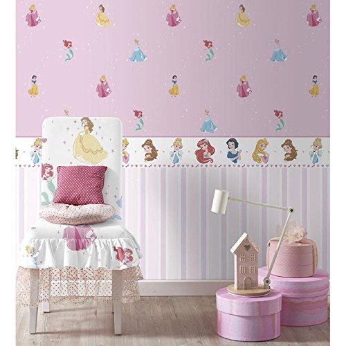 Bordüre Disney Princess Weiß und Rosa Kinderzimmer Mädchen pr3525–2Disney Fantasy Deco Dandino.
