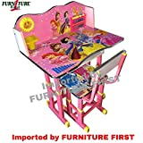 #7: Furniture First BARIIE PRINCESS Pink Melamine Graphics and Glossy Lamination Kids Study Table & Chair Set for Kids Age between 3-11 Years, Originally imported by FURNITURE FIRST