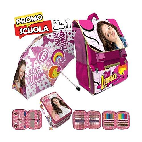 Trade shop traesio - zaino scuola estensibile disney soy luna kit completo+ombrello e astuccio 3 zip