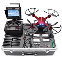 F181DH RC Quadcopter Drone RTF Altitude Hold UFO with Newest Hover and 3D Flips Function, 2MP HD Camera & 5.8Ghz FPV LCD Screen Monitor & Drone Carrying Case from Potensic