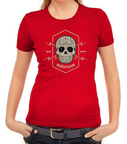 Junggesellenabschieds JGA Hochzeit Damen T-Shirt Skull Bräutigam Rot