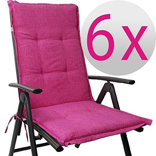 Hochlehner Auflage Outdoor günstiges Sparset 118 x 50 x 5,5 cm Schmutz- und wasserabweisendes Sitzkissen & Rückenkissen gepolsterte Gartenstuhlauflage mit Gummiband, Farbe:Pink, Menge:6er Set