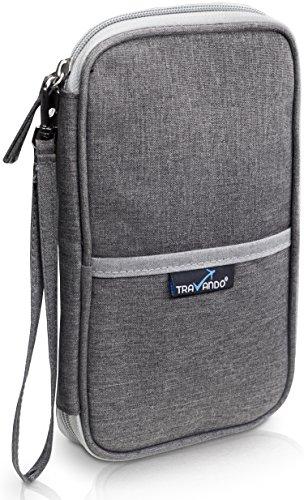 TRAVANDO ® Reiseorganizer mit RFID Schutz | Dokumententasche, Reise Organizer, Mappe für Reiseunterlagen, Reiseetui für Reisedokumente Reisemappe Reisebrieftasche Reisebörse Tickettasche Ausweistasche (Wallet Passport)