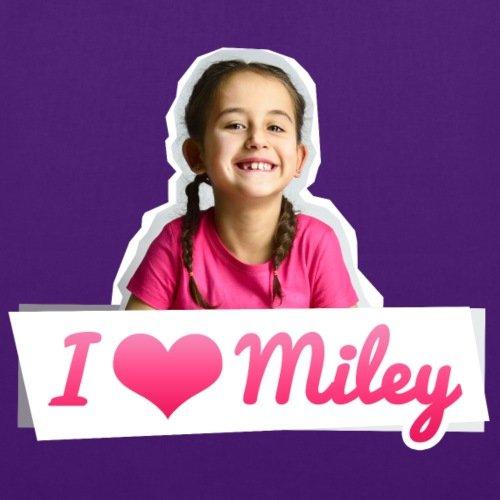 Spreadshirt Mileys World I Love Miley Spruch Und Foto Stoffbeutel Lila