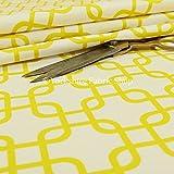 Moderner Aufdruck Samt gelb Labyrinth Geometrische Muster