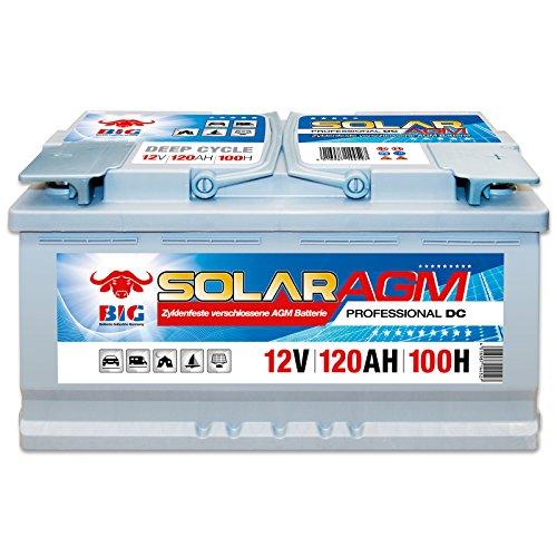 BIG Solar DC AGM 12 V / 120 Ah (100h) Antrieb Beleuchtung Batterie Versorgungsbatterie