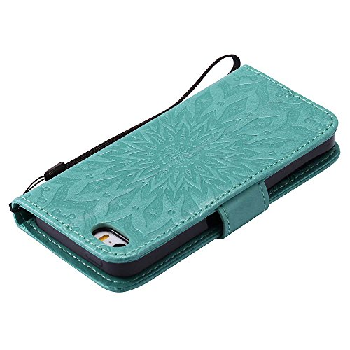 Custodia iPhone 5 / 5S / SE, cmdkd Wallet Custodia Bumper per iPhone 5 / 5S / SE. (Rosso) Verde