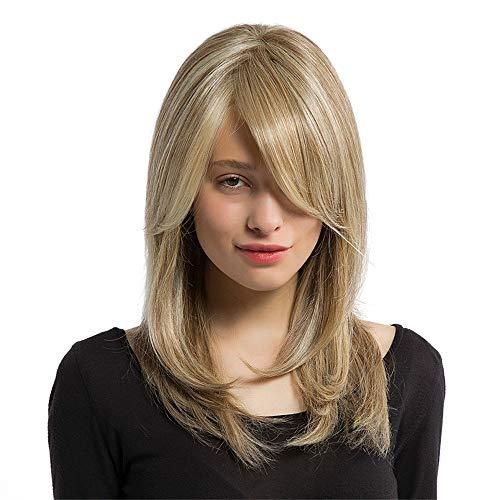 Damen PerüCken Blond Mittellang Frauen Langes Haar Volle Perücke Natürliche Lockige Wellenförmige Synthetische Cosplay Party Perücken Lot PerüCke NatüRlich (Blond) -