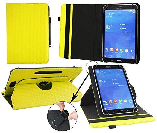 Emartbuy® Denver TAQ-10182 MK2 10.1 Zoll Tablet Universal ( 9 - 10 Zoll ) GepolsterteDesign Gelb 360GradrotierendeStandFolioGeldbörseTascheHülle + Schwarz Eingabestift