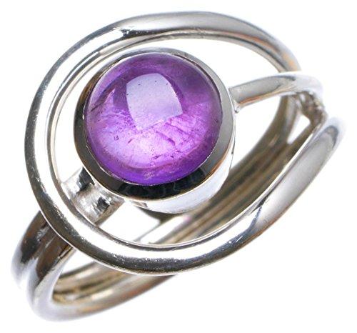 925er Sterling Silber Amethyst Einzigartig Handgefertigt Ringe 18 3/4 Purple X2758 (Ringe Belly Violett Button)