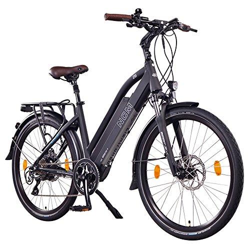 NCM Milano Plus 48V, 26' Zoll Damen & Herren Urban E-Bike, 250W Das-Kit Heckmotor, 14Ah 672Wh Panasonic Li-Ion Zellen Akku, hydraulische Scheibenbremsen, 8 Gang Shimano Schaltung, schwarz