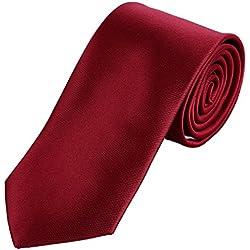 DonDon hombres corbata 7 cm business professional classica hecho a mano rojo oscuro para la oficina o eventos festivos
