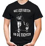 wie der Vater So der Tochter Männer und Herren T-Shirt | Freundschaft Papa Vatertag Familie | Angler (Schwarz, M)