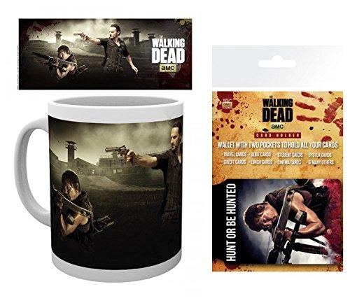 Set: The Walking Dead, Daryl Dixon, Rick Grimes, Gefängnis Foto-Tasse Kaffeetasse (9x8 cm) Inklusive 1 The Walking Dead EC-Kartenhülle Kartenetui Für Fans Und Sammler (10x7 cm)